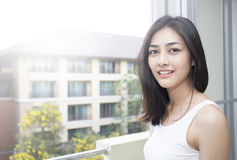 Lovely asian woman smiling royalty free stock image