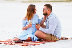 Young couple  holding glasses in hands, happy couple sitting on a blanket Royalty Free Stock Images