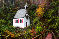 Lovely Autumn Chapel at the Sea of Kings Stock Image