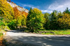 Lovely autumn landscape in mountains. Mixed forest with colorful foliage in bright light. travel by car concept royalty free stock photography