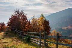 Lovely autumn scenery in mountains. Fence along the hill. trees in colorful foliage. lovely autumn scenery in mountains royalty free stock photos