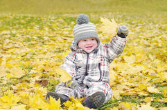 Lovely baby age of 1 year outdoors in autumn plays with leaves Royalty Free Stock Photos