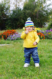 Lovely baby age of 1 year walking in park Royalty Free Stock Photo