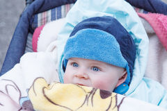 Lovely baby boy outdoor in warm winter clothes. Stock Photography