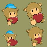 Lovely baby camel cartoon heart sticker copyspace Royalty Free Stock Images