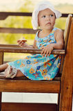 Baby girl in cafe Stock Photography