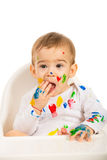 Lovely baby with paints on his body Royalty Free Stock Photos
