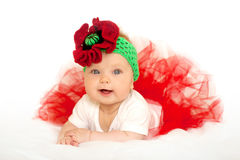 Lovely baby princess in red tutu dress Royalty Free Stock Image