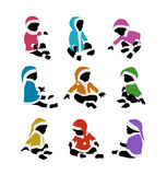 Lovely baby santa colorful silhouettes set Royalty Free Stock Photo