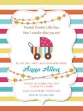 Lovely baby shower card with stroller Royalty Free Stock Image