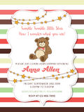 Lovely baby shower card with teddy bear Royalty Free Stock Photo