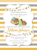 Lovely baby shower card with teddy bear Royalty Free Stock Photography