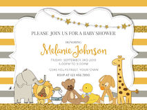 Lovely baby shower card template with golden glittering details Royalty Free Stock Photo