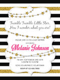 Lovely baby shower card template with golden glittering details. Vector format royalty free illustration