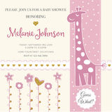 Lovely baby shower card template with golden glittering details Stock Image