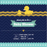 Lovely baby shower card template with golden glittering details Royalty Free Stock Photography