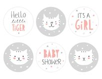 Lovely Baby Shower Round Shape Tag Set. Hello Little Tiger. Stock Images