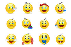 Lovely baby smileys set with nursery elements Royalty Free Stock Photo