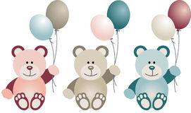 Lovely Baby Teddy Bear with Balloons Royalty Free Stock Photo