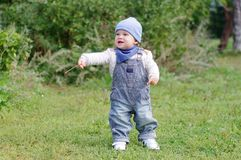Lovely baby walking in park Royalty Free Stock Image