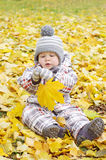 Lovely baby with yellow leaf outdoors Stock Image