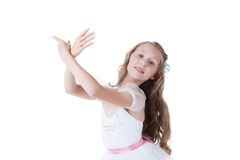 Lovely ballerina gracefully posing at camera Royalty Free Stock Image