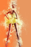 Lovely ballerina in yellow tutu Stock Image