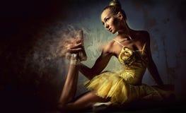 Lovely ballerina in yellow tutu Royalty Free Stock Photos