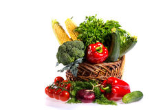 Lovely basket with fresh vegetables Royalty Free Stock Image