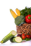 Lovely basket with fresh vegetables Stock Photos