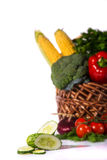 Lovely basket with fresh vegetables Royalty Free Stock Images