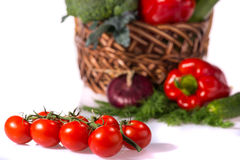 Lovely basket with fresh vegetables Stock Photo