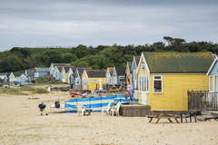 Lovely beach huts on sand dunes and beach landscape Royalty Free Stock Photography