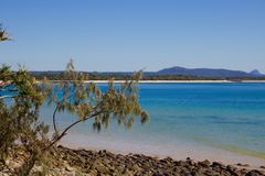 Beautiful beach scene in Noosa, Queensland Australia royalty free stock photography