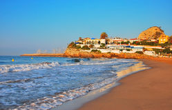 Lovely beach in Spain. In the morning Royalty Free Stock Photo