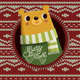 Lovely bear  on Christmas background Stock Photo