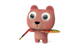 Lovely Bear in drawing 3D rendering Royalty Free Stock Image