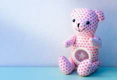 Lovely bear with pink heart pattern skin Royalty Free Stock Image