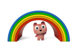 Lovely bear and rainbow 3D rendering. A little pink bear stands under the rainbow, computer rendering Royalty Free Stock Photos