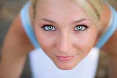Lovely beautiful blonde woman with amazing eyes. Outdoor royalty free stock photos