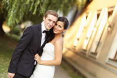 Lovely beautiful bride and groom Stock Image