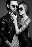 Lovely beautiful couple in sunglasses Royalty Free Stock Image