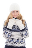 Lovely beautiful girl in winter clothes isolated on white Stock Images