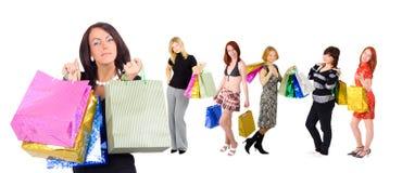 Lovely beautiful shopping lady stock image