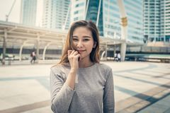 Lovely beautiful young women in the city Royalty Free Stock Images