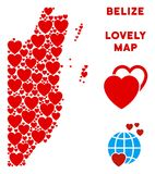 Vector Valentine Belize Map Composition of Hearts. Lovely Belize map mosaic of red hearts. We like Belize map concept. Abstract vector area scheme is designed vector illustration