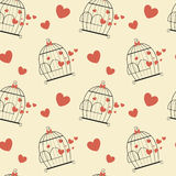 Lovely bird cage with heart romantic valentine's day seamless pattern background illustration Stock Photography