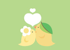 Lovely bird in green. Couple bird love one another royalty free illustration