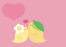 Lovely bird in pink. Cute little bird in love stock illustration