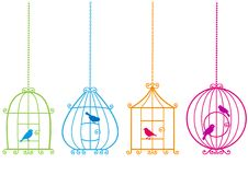 Lovely Birdcages With Birds, Royalty Free Stock Photography